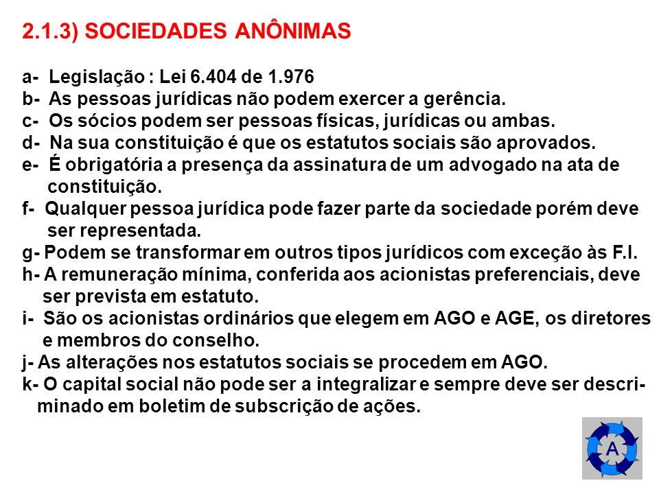 2.1.3) SOCIEDADES ANÔNIMAS a- Legislação : Lei 6.404 de 1.976 b- As pessoas jurídicas não podem exercer a gerência. c- Os sócios podem ser pessoas fís