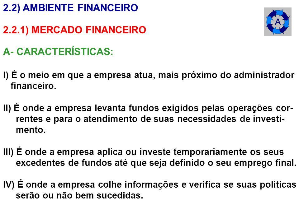 2.2) AMBIENTE FINANCEIRO 2.2.1) MERCADO FINANCEIRO A- CARACTERÍSTICAS: I) É o meio em que a empresa atua, mais próximo do administrador financeiro. II