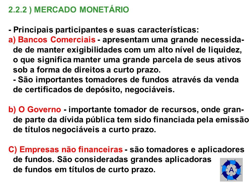 2.2.2 ) MERCADO MONETÁRIO - Principais participantes e suas características: a) Bancos Comerciais - apresentam uma grande necessida- de de manter exig
