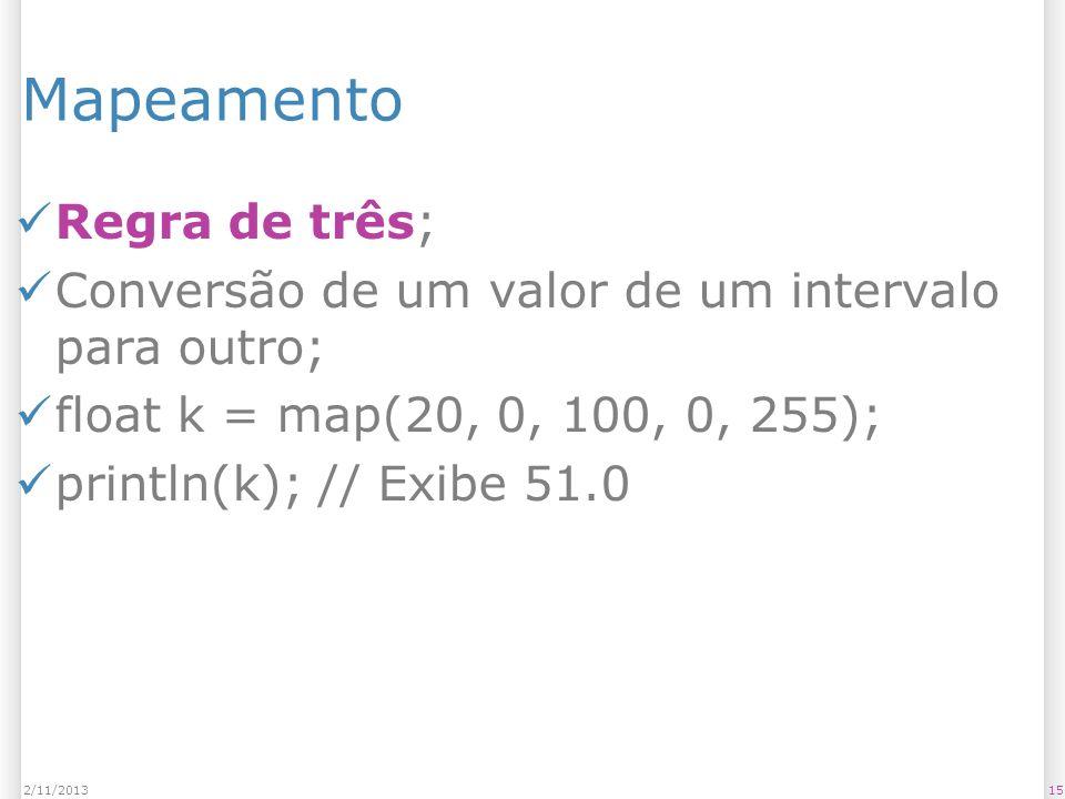 152/11/2013 Mapeamento Regra de três; Conversão de um valor de um intervalo para outro; float k = map(20, 0, 100, 0, 255); println(k); // Exibe 51.0
