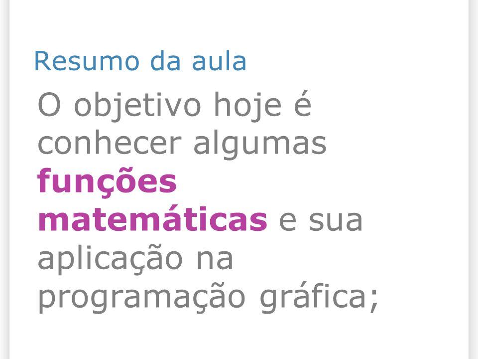 Resumo da aula O objetivo hoje é conhecer algumas funções matemáticas e sua aplicação na programação gráfica;