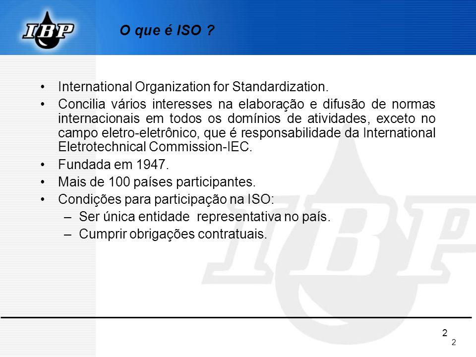 2 2 O que é ISO ? International Organization for Standardization. Concilia vários interesses na elaboração e difusão de normas internacionais em todos