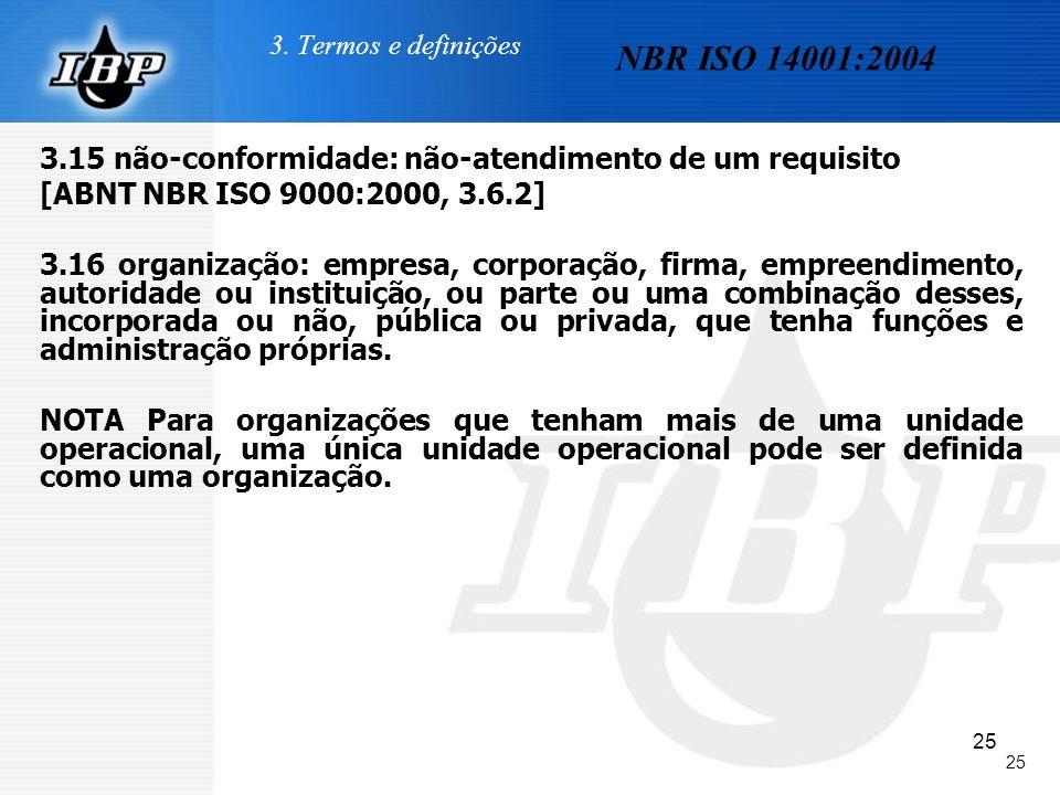 25 3. Termos e definições 3.15 não-conformidade: não-atendimento de um requisito [ABNT NBR ISO 9000:2000, 3.6.2] 3.16 organização: empresa, corporação