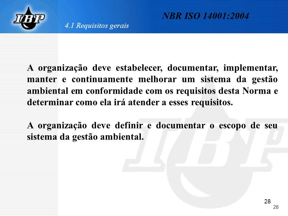 28 NBR ISO 14001:2004 4.1 Requisitos gerais A organização deve estabelecer, documentar, implementar, manter e continuamente melhorar um sistema da ges