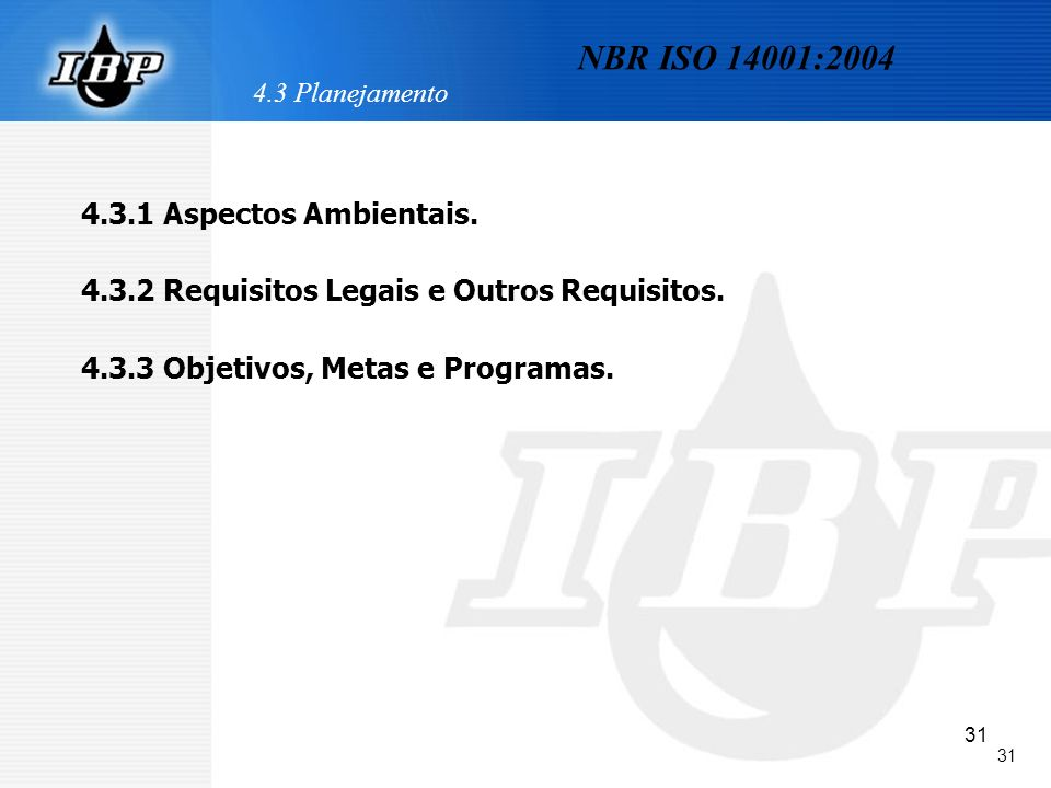 31 4.3 Planejamento 4.3.1 Aspectos Ambientais. 4.3.2 Requisitos Legais e Outros Requisitos. 4.3.3 Objetivos, Metas e Programas. NBR ISO 14001:2004