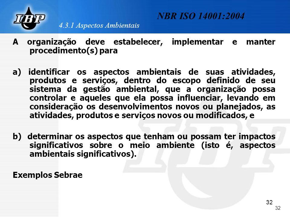 32 4.3.1 Aspectos Ambientais A organização deve estabelecer, implementar e manter procedimento(s) para a) identificar os aspectos ambientais de suas a