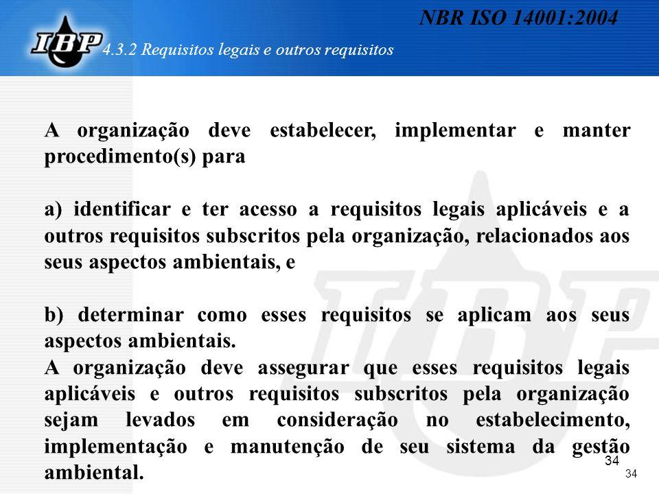 34 4.3.2 Requisitos legais e outros requisitos A organização deve estabelecer, implementar e manter procedimento(s) para a) identificar e ter acesso a