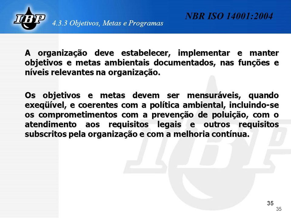 35 4.3.3 Objetivos, Metas e Programas A organização deve estabelecer, implementar e manter objetivos e metas ambientais documentados, nas funções e ní