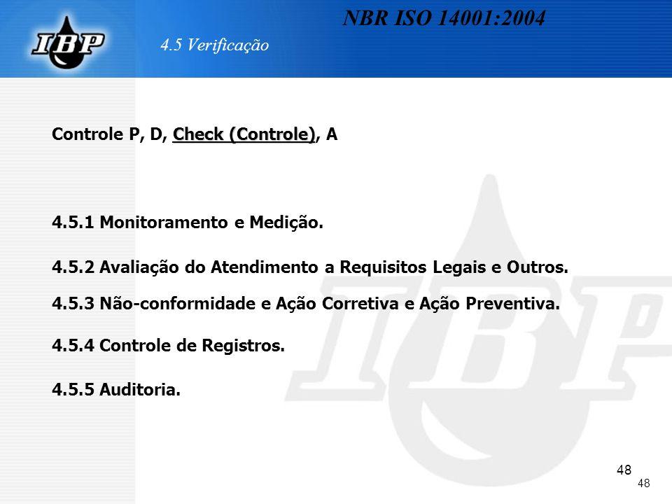 48 4.5 Verificação Check (Controle) Controle P, D, Check (Controle), A 4.5.1 Monitoramento e Medição. 4.5.2 Avaliação do Atendimento a Requisitos Lega