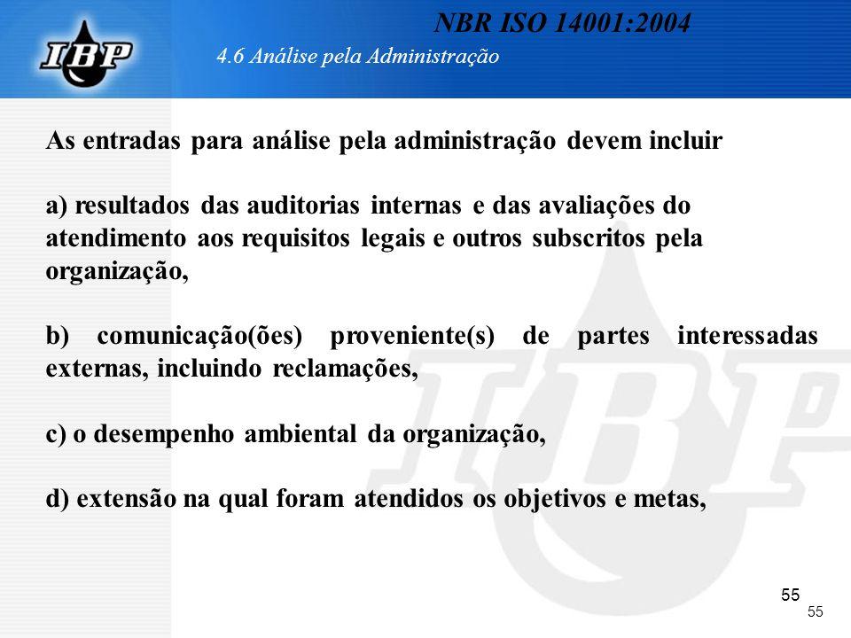 55 4.6 Análise pela Administração As entradas para análise pela administração devem incluir a) resultados das auditorias internas e das avaliações do