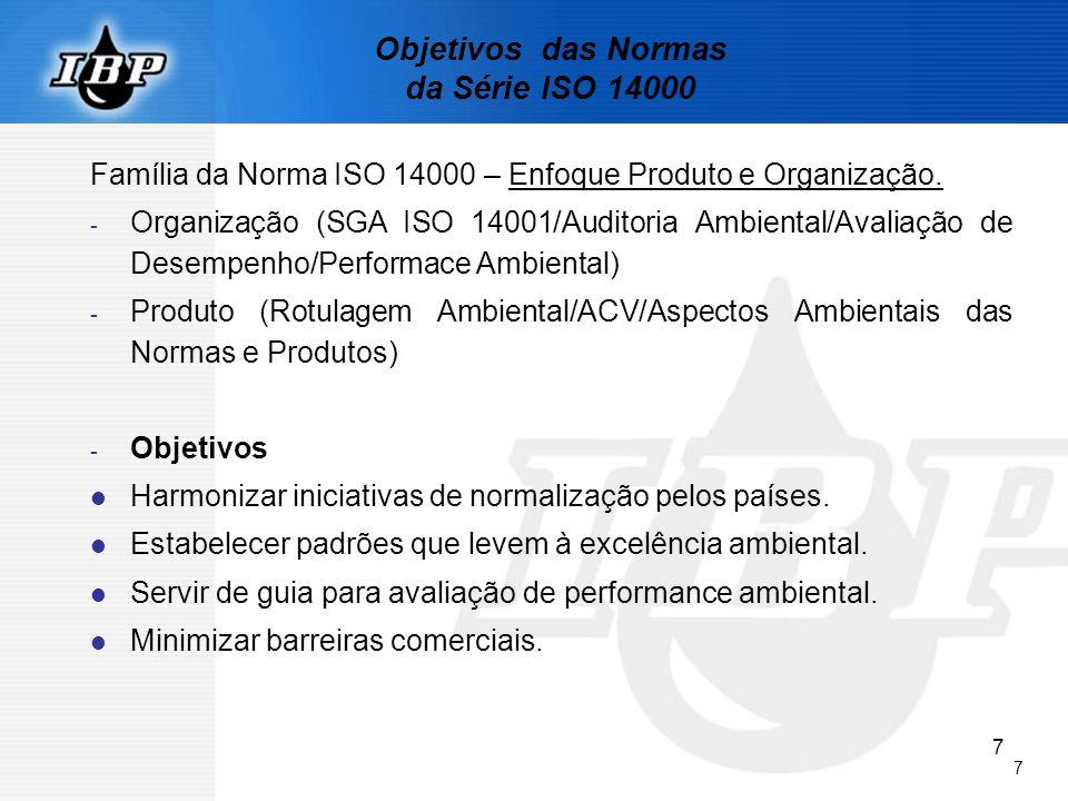 7 7 Objetivos das Normas da Série ISO 14000 Família da Norma ISO 14000 – Enfoque Produto e Organização. - Organização (SGA ISO 14001/Auditoria Ambient