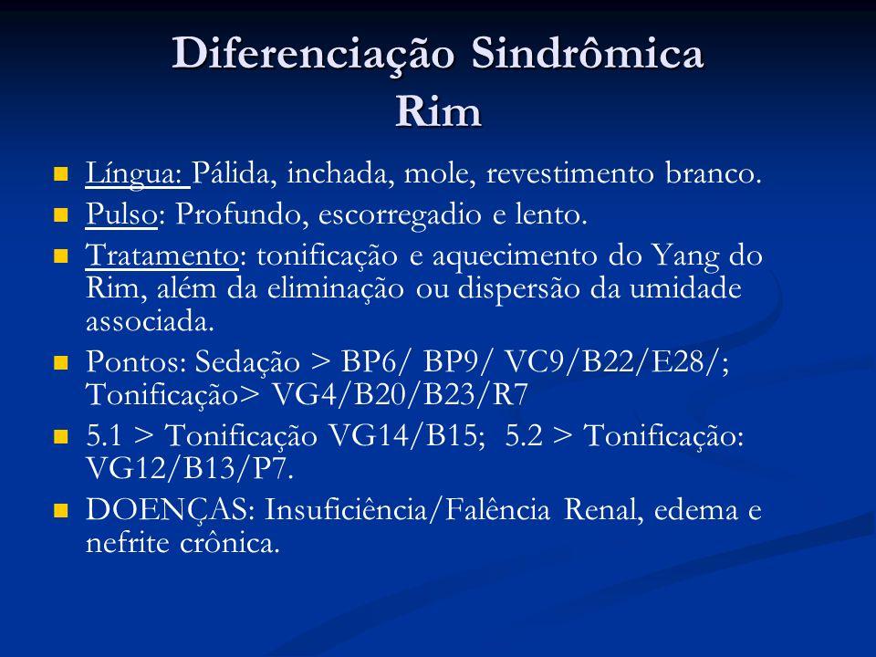 Diferenciação Sindrômica Rim Língua: Pálida, inchada, mole, revestimento branco.