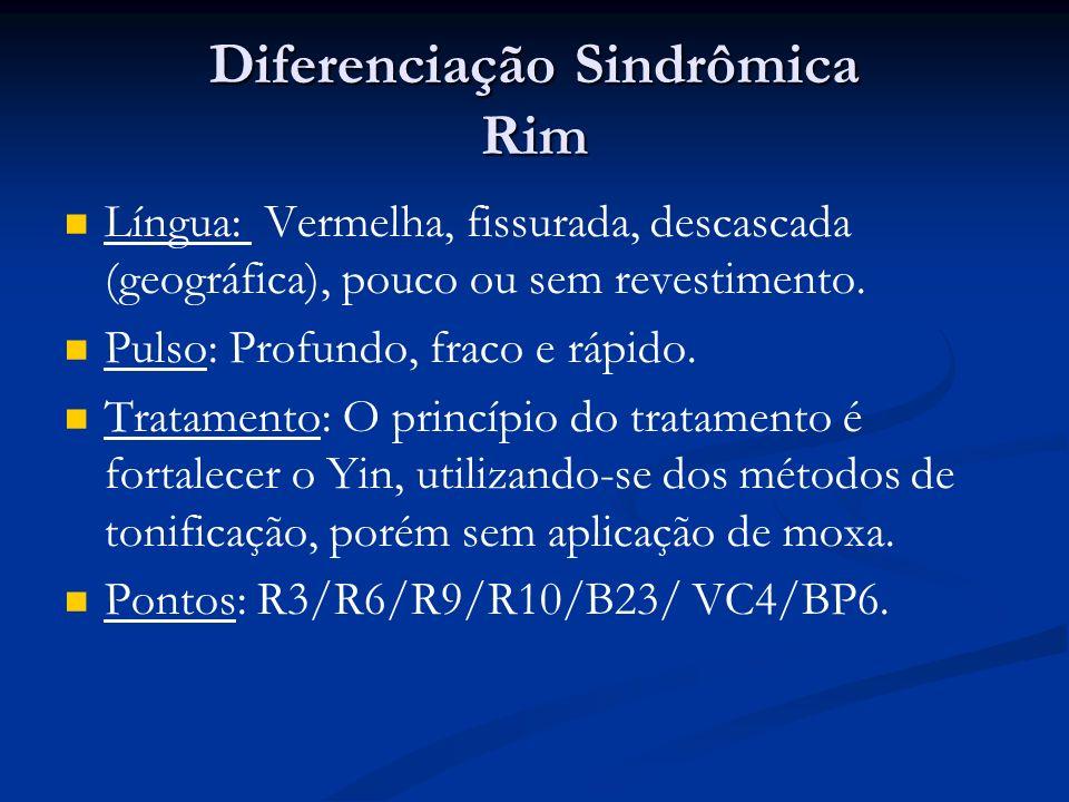 Diferenciação Sindrômica Rim Língua: Vermelha, fissurada, descascada (geográfica), pouco ou sem revestimento.