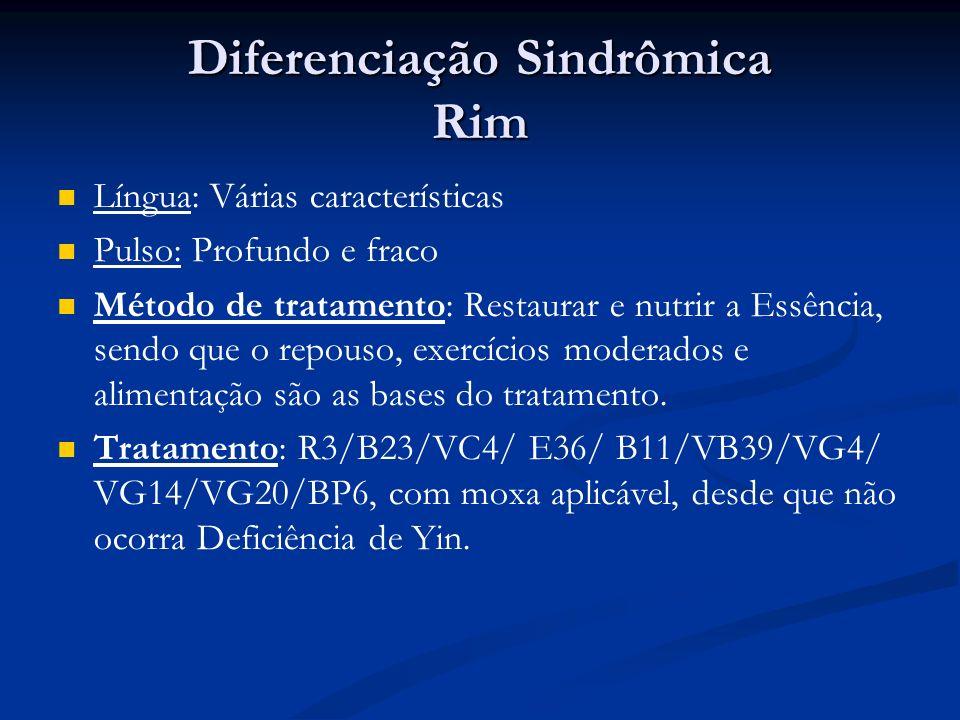Diferenciação Sindrômica Rim Língua: Várias características Pulso: Profundo e fraco Método de tratamento: Restaurar e nutrir a Essência, sendo que o repouso, exercícios moderados e alimentação são as bases do tratamento.