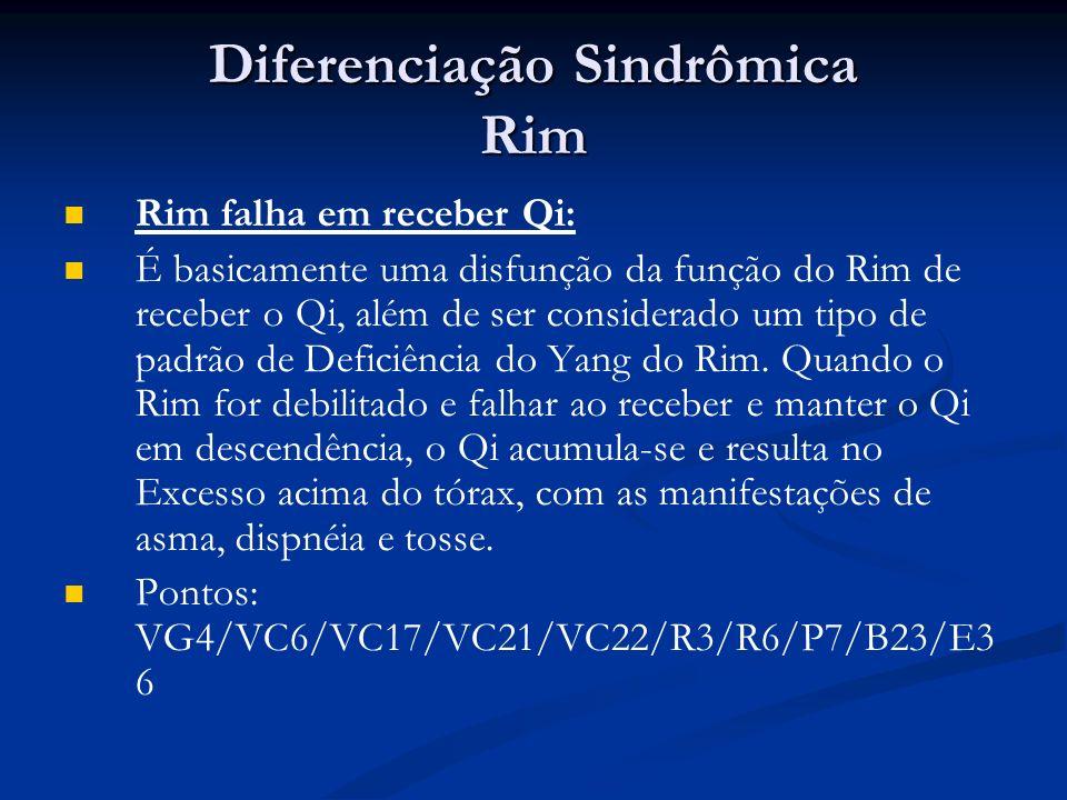 Diferenciação Sindrômica Rim Rim falha em receber Qi: É basicamente uma disfunção da função do Rim de receber o Qi, além de ser considerado um tipo de padrão de Deficiência do Yang do Rim.