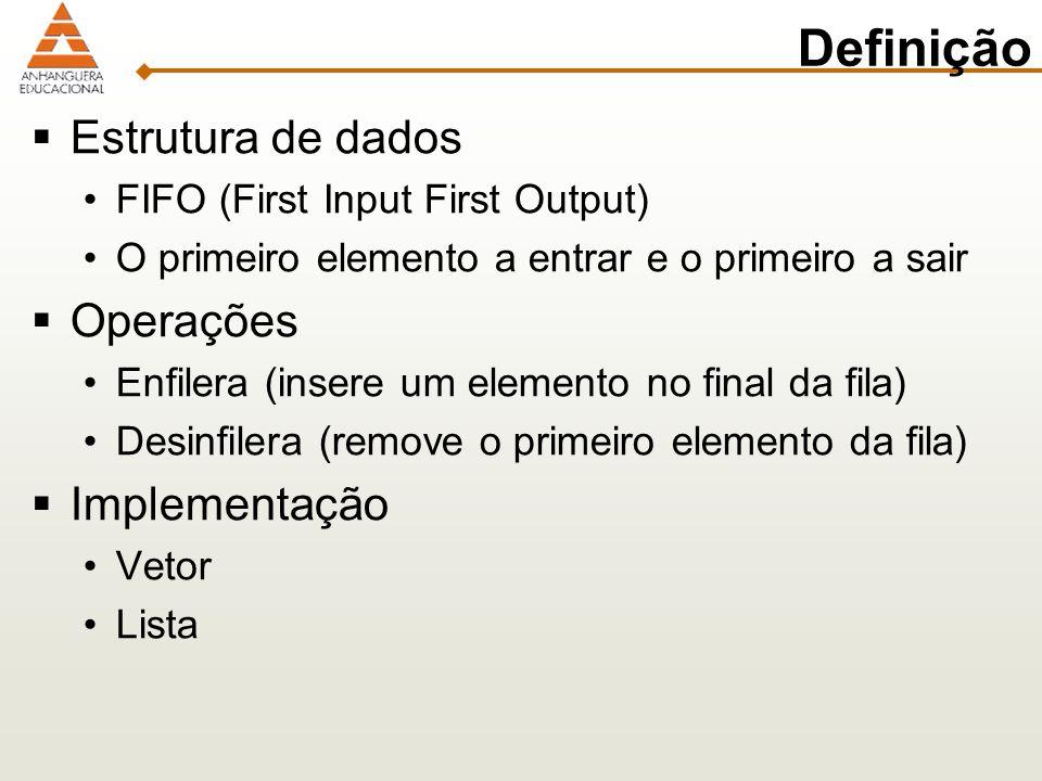 Definição Estrutura de dados FIFO (First Input First Output) O primeiro elemento a entrar e o primeiro a sair Operações Enfilera (insere um elemento n