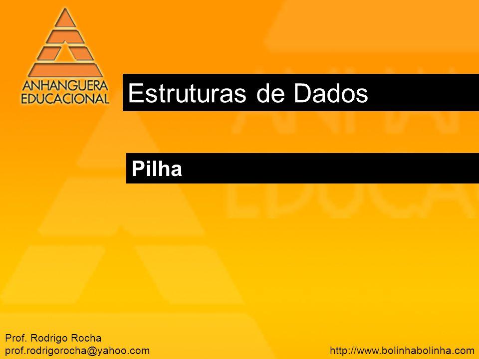 Estruturas de Dados Pilha Prof. Rodrigo Rocha prof.rodrigorocha@yahoo.com http://www.bolinhabolinha.com