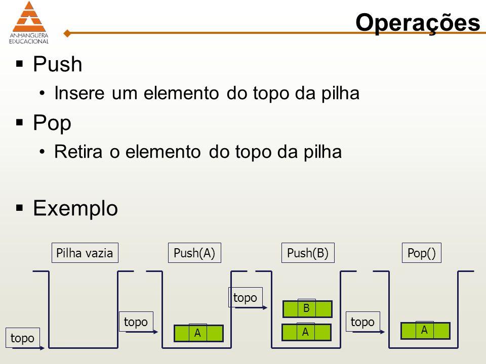 Operações Push Insere um elemento do topo da pilha Pop Retira o elemento do topo da pilha Exemplo A topo Pilha vazia topo Push(A)Push(B) AB Pop() A