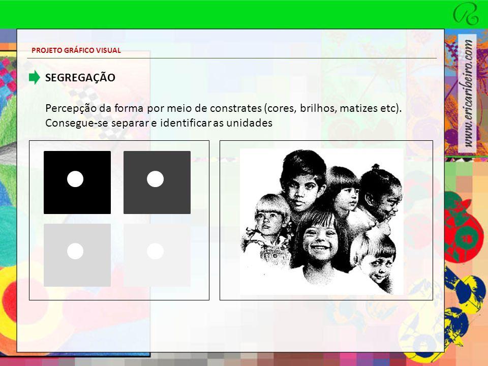 PROJETO GRÁFICO VISUAL SEGREGAÇÃO Percepção da forma por meio de constrates (cores, brilhos, matizes etc). Consegue-se separar e identificar as unidad