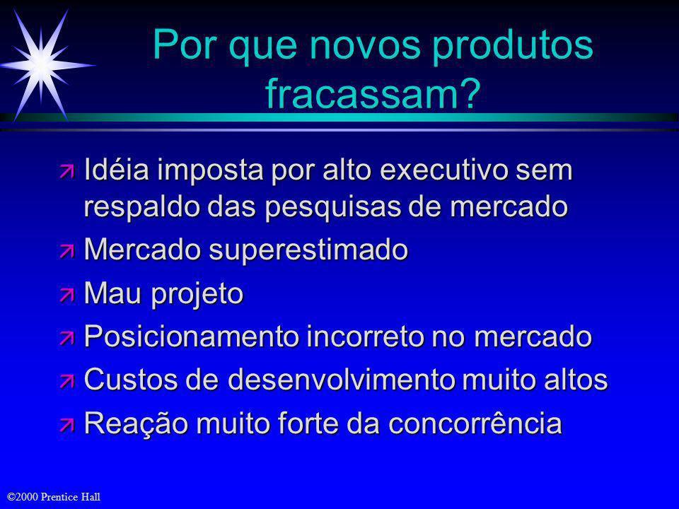 ©2000 Prentice Hall Objetivos ä Desafios no desenvolvimento de novos produtos ä Estruturas organizacionais e desenvolvimento de novos produtos ä Etapa