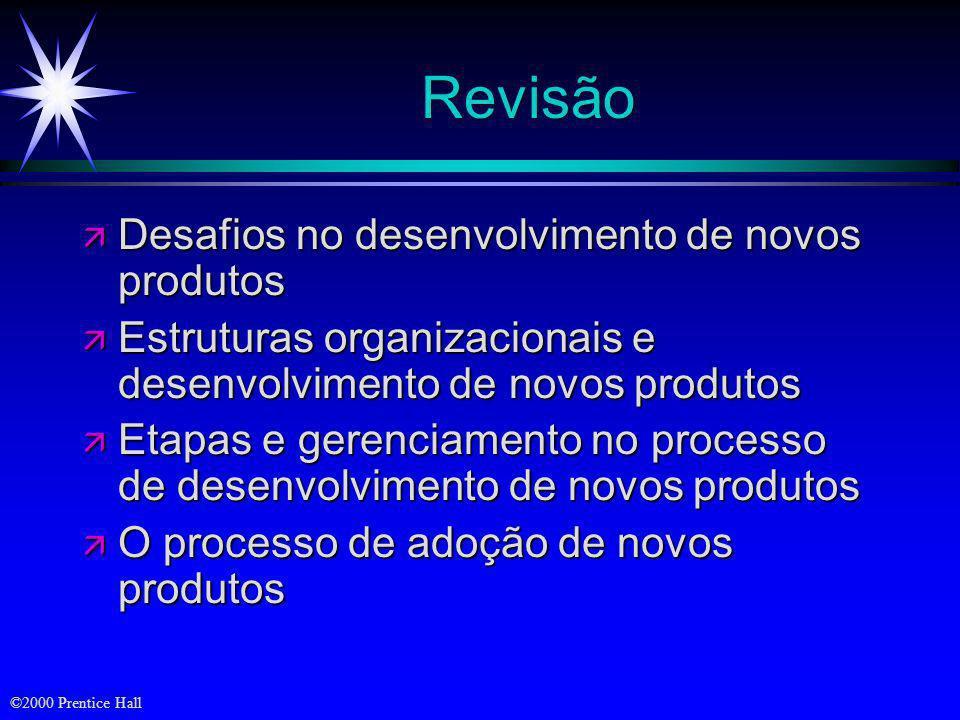 ©2000 Prentice Hall Características de Inovação que Afetam a Taxa de Adoção ä Vantagem relativa ä Compatibilidade ä Complexidade ä Divisibilidade ä Co