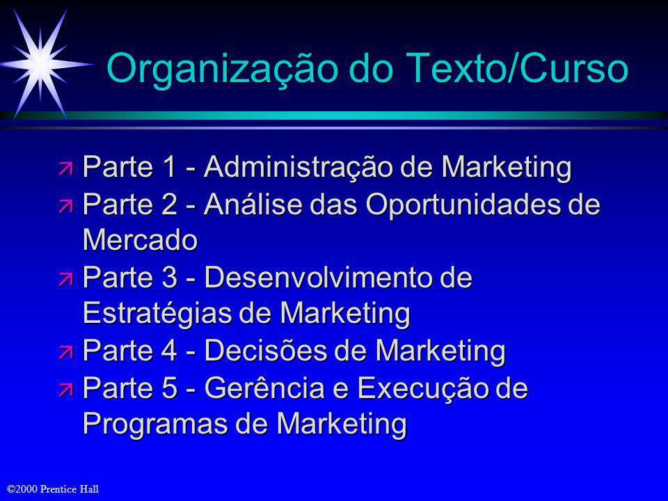 ©2000 Prentice Hall Objetivos ä Organização do curso ä Tarefas de marketing ä Principais conceitos e ferramentas de marketing ä Orientações da empresa