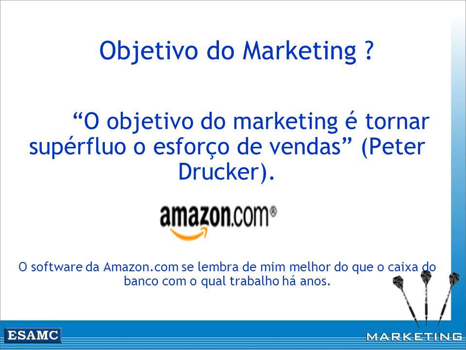 Objetivo do Marketing ? O objetivo do marketing é tornar supérfluo o esforço de vendas (Peter Drucker). O software da Amazon.com se lembra de mim melh