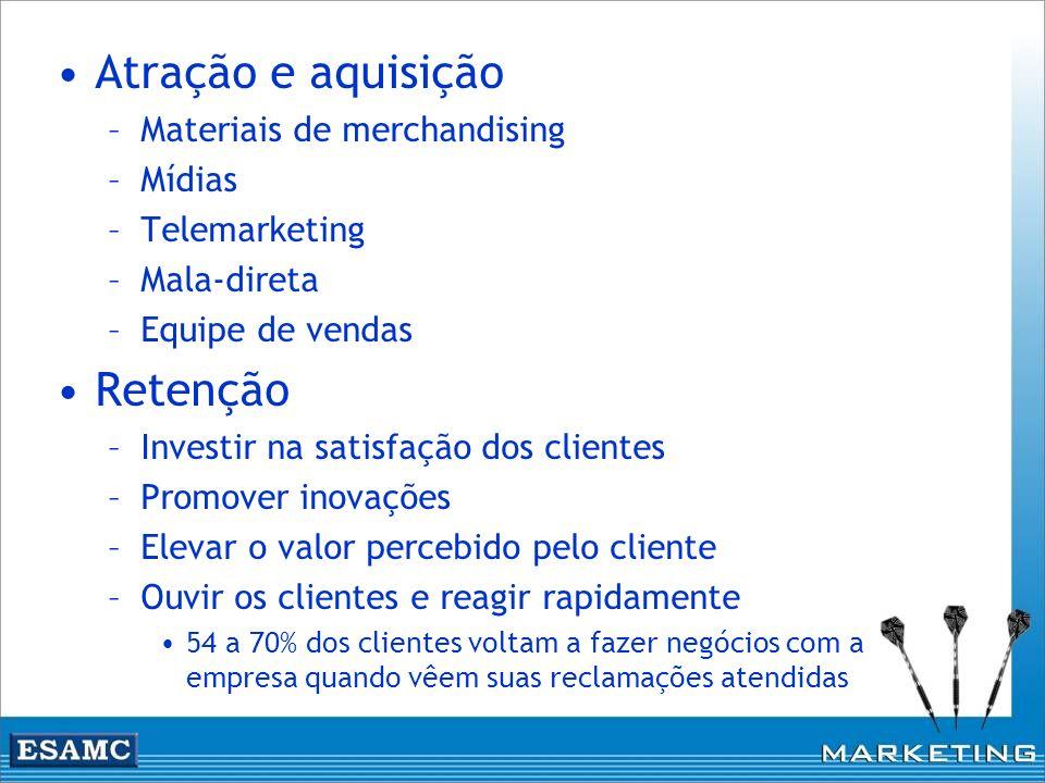 Atração e aquisição –Materiais de merchandising –Mídias –Telemarketing –Mala-direta –Equipe de vendas Retenção –Investir na satisfação dos clientes –P
