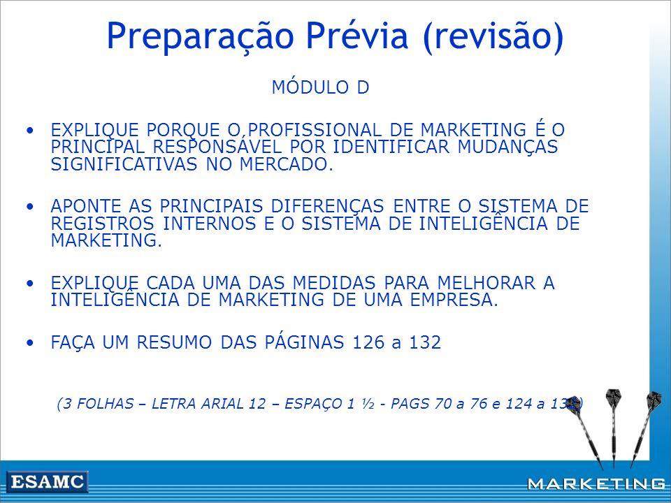 Preparação Prévia (revisão) MÓDULO D EXPLIQUE PORQUE O PROFISSIONAL DE MARKETING É O PRINCIPAL RESPONSÁVEL POR IDENTIFICAR MUDANÇAS SIGNIFICATIVAS NO
