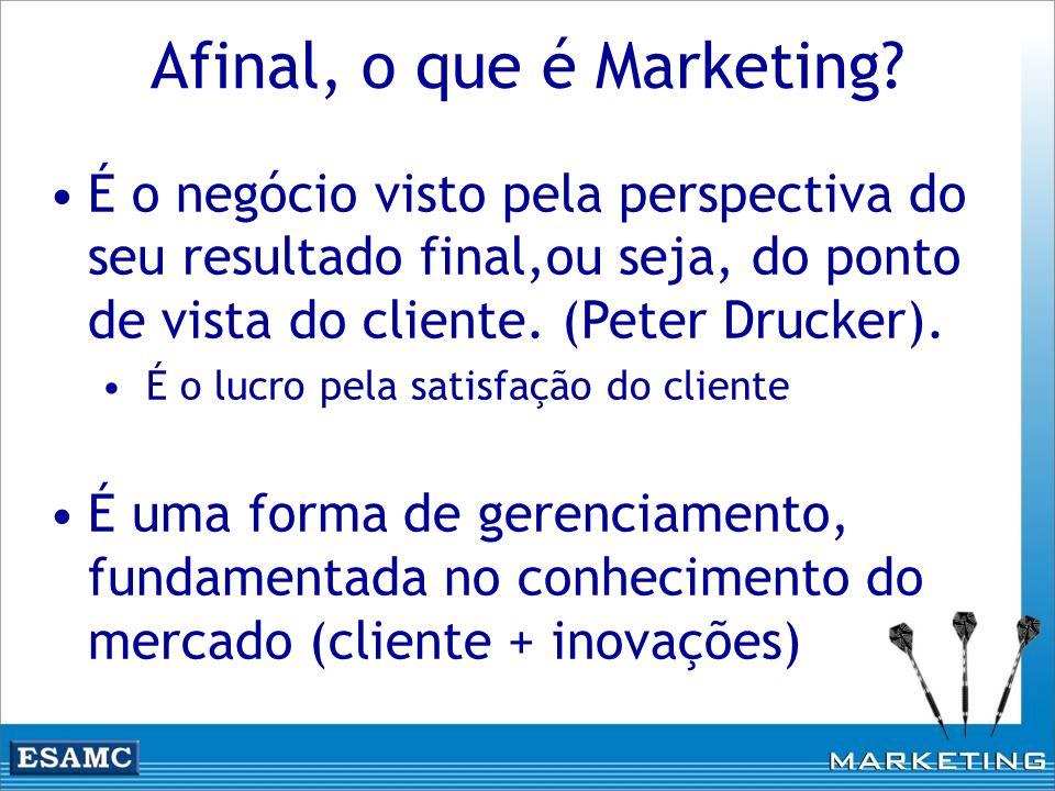 Afinal, o que é Marketing? É o negócio visto pela perspectiva do seu resultado final,ou seja, do ponto de vista do cliente. (Peter Drucker). É o lucro