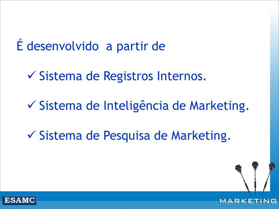 É desenvolvido a partir de Sistema de Registros Internos. Sistema de Inteligência de Marketing. Sistema de Pesquisa de Marketing.