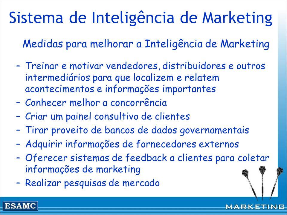 Sistema de Inteligência de Marketing Medidas para melhorar a Inteligência de Marketing –Treinar e motivar vendedores, distribuidores e outros intermed