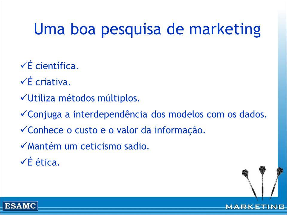 Uma boa pesquisa de marketing É científica. É criativa. Utiliza métodos múltiplos. Conjuga a interdependência dos modelos com os dados. Conhece o cust