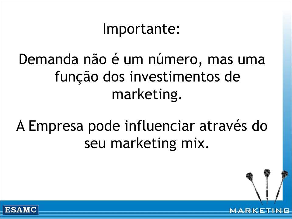 Importante: Demanda não é um número, mas uma função dos investimentos de marketing. A Empresa pode influenciar através do seu marketing mix.