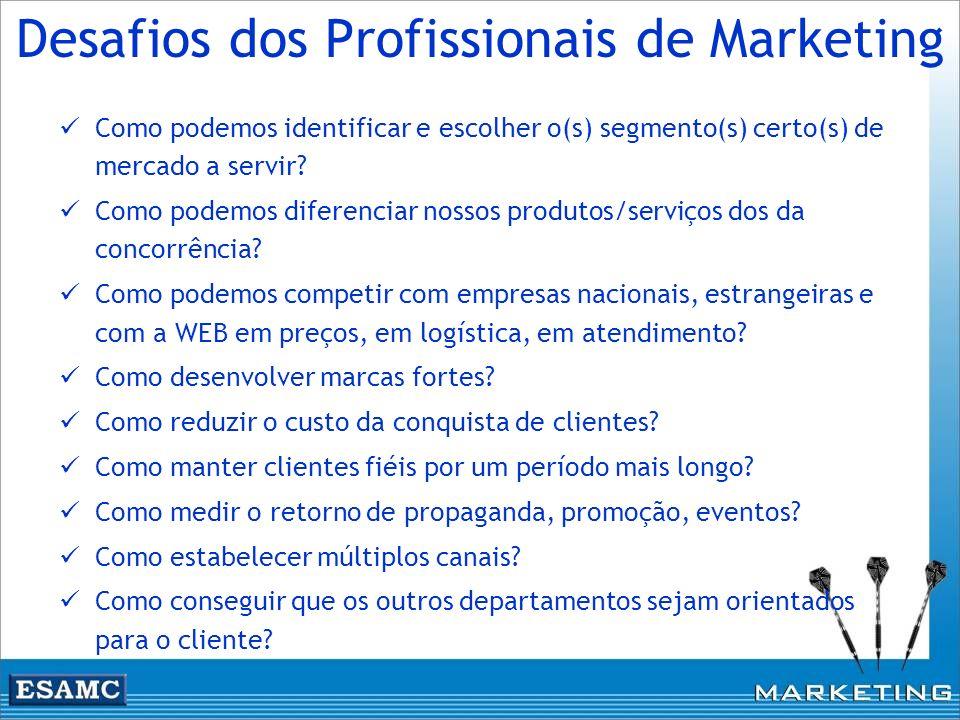 Desafios dos Profissionais de Marketing Como podemos identificar e escolher o(s) segmento(s) certo(s) de mercado a servir? Como podemos diferenciar no