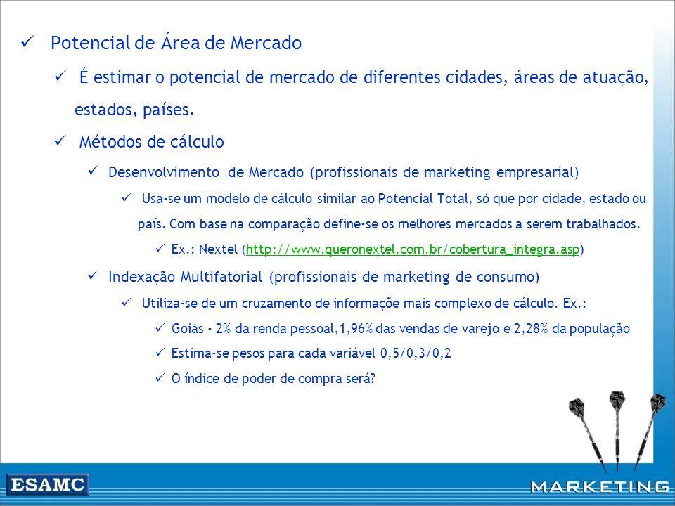 Potencial de Área de Mercado É estimar o potencial de mercado de diferentes cidades, áreas de atuação, estados, países. Métodos de cálculo Desenvolvim