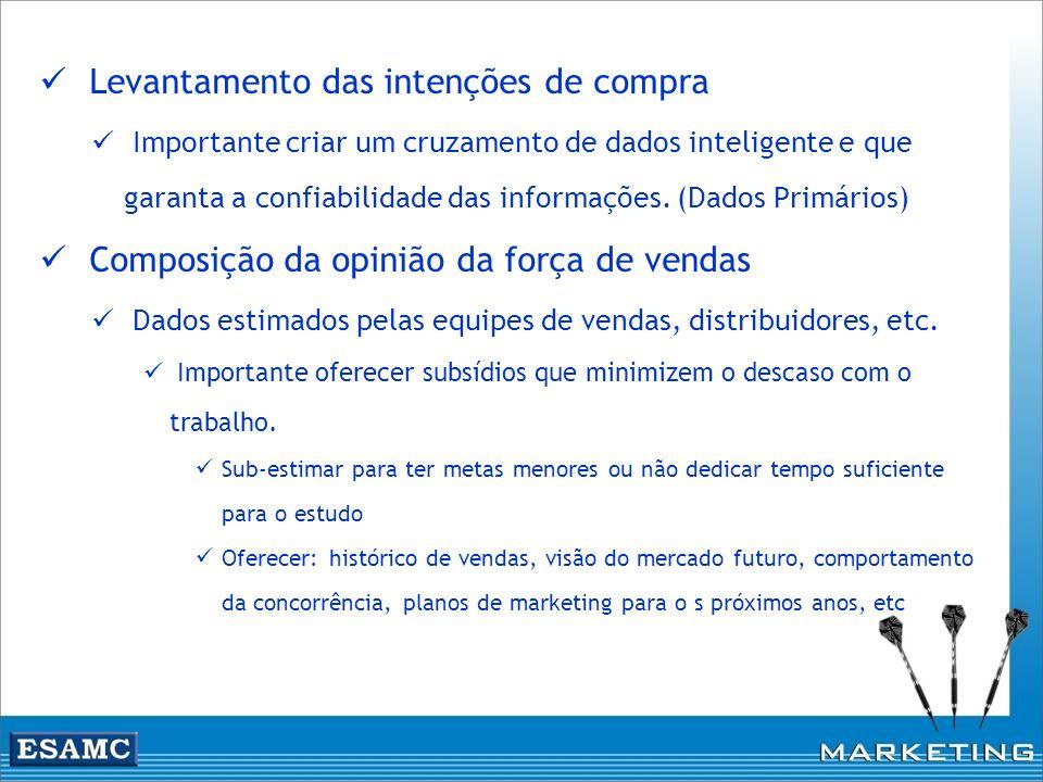 Levantamento das intenções de compra Importante criar um cruzamento de dados inteligente e que garanta a confiabilidade das informações. (Dados Primár