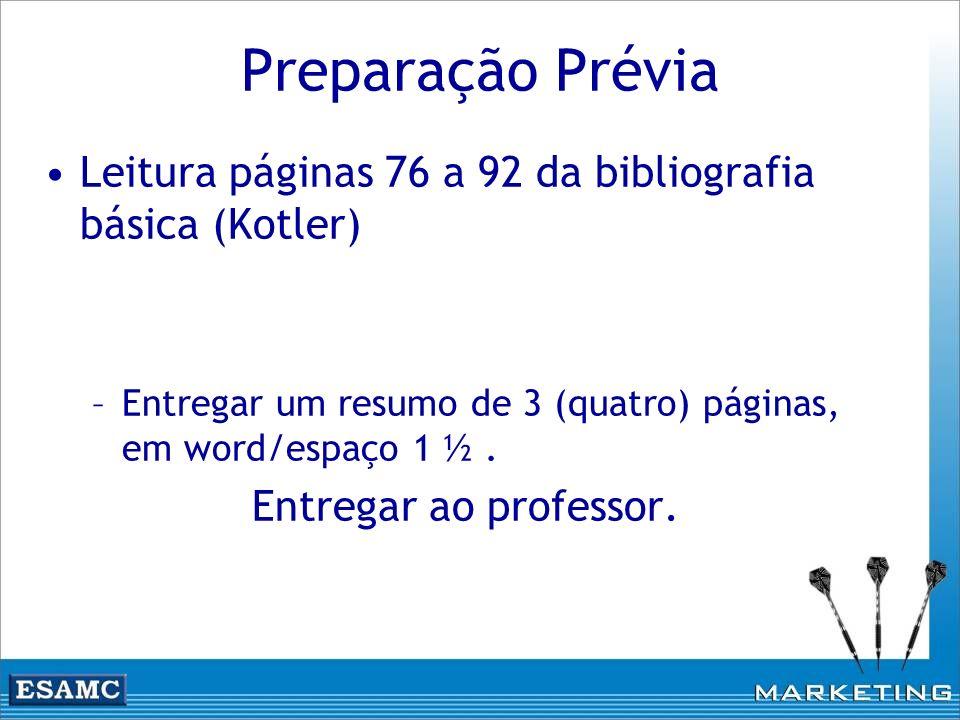 Preparação Prévia Leitura páginas 76 a 92 da bibliografia básica (Kotler) –Entregar um resumo de 3 (quatro) páginas, em word/espaço 1 ½. Entregar ao p
