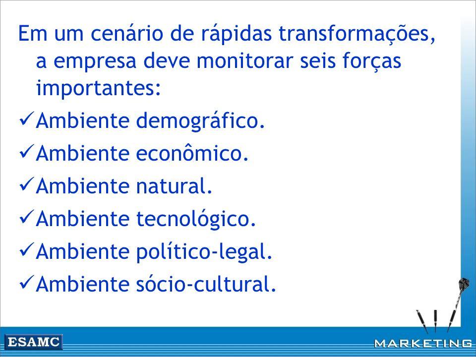 Em um cenário de rápidas transformações, a empresa deve monitorar seis forças importantes: Ambiente demográfico. Ambiente econômico. Ambiente natural.