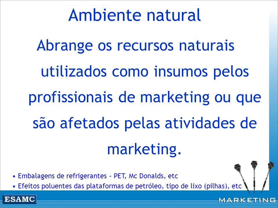 Abrange os recursos naturais utilizados como insumos pelos profissionais de marketing ou que são afetados pelas atividades de marketing. Ambiente natu