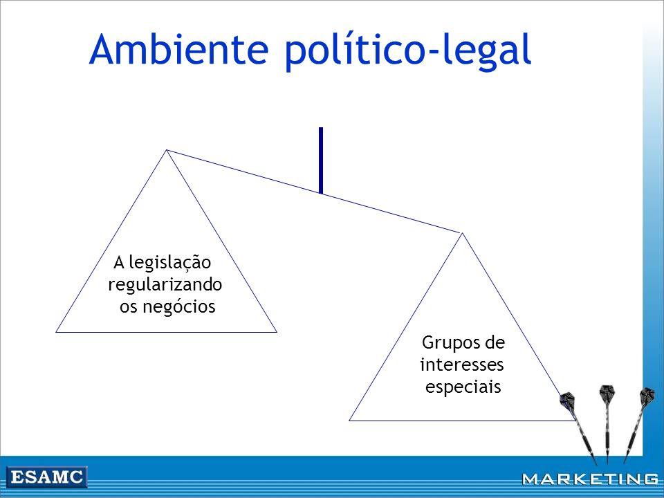 Ambiente político-legal A legislação regularizando os negócios Grupos de interesses especiais