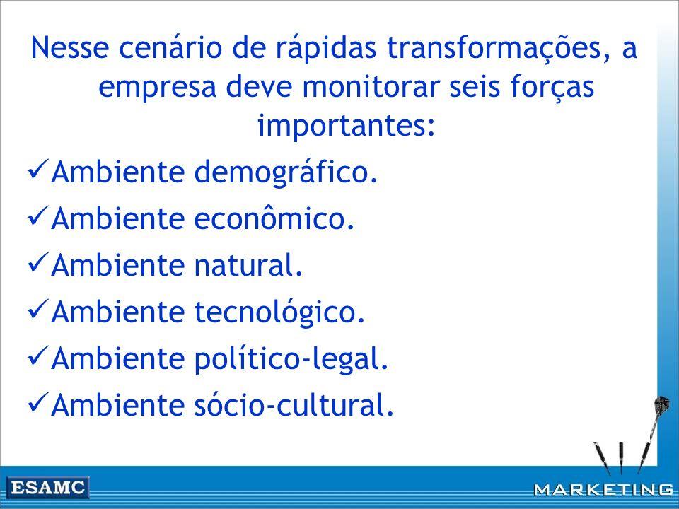 Nesse cenário de rápidas transformações, a empresa deve monitorar seis forças importantes: Ambiente demográfico. Ambiente econômico. Ambiente natural.