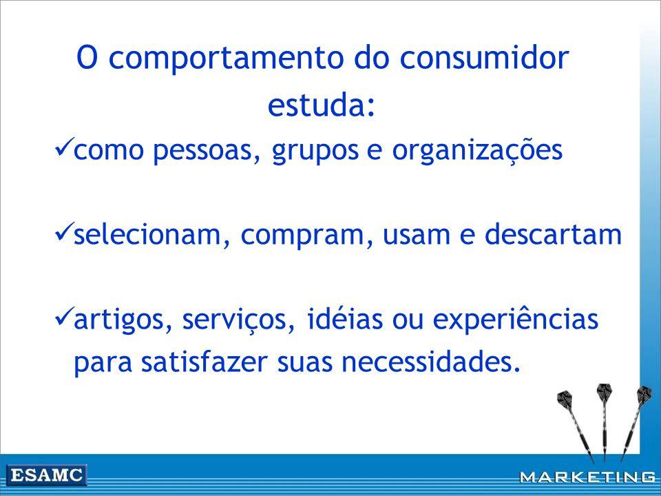 O comportamento do consumidor estuda: como pessoas, grupos e organizações selecionam, compram, usam e descartam artigos, serviços, idéias ou experiênc