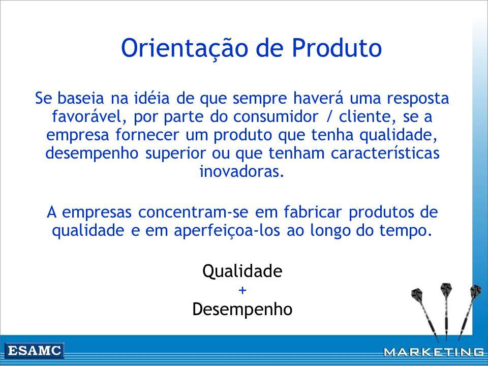 Orientação de Produto Se baseia na idéia de que sempre haverá uma resposta favorável, por parte do consumidor / cliente, se a empresa fornecer um prod