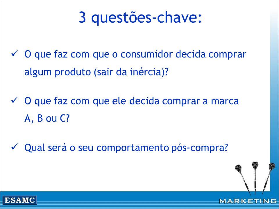 3 questões-chave: O que faz com que o consumidor decida comprar algum produto (sair da inércia)? O que faz com que ele decida comprar a marca A, B ou