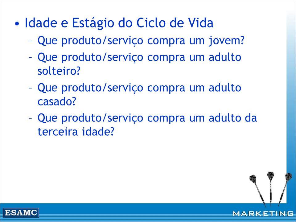 Idade e Estágio do Ciclo de Vida –Que produto/serviço compra um jovem? –Que produto/serviço compra um adulto solteiro? –Que produto/serviço compra um
