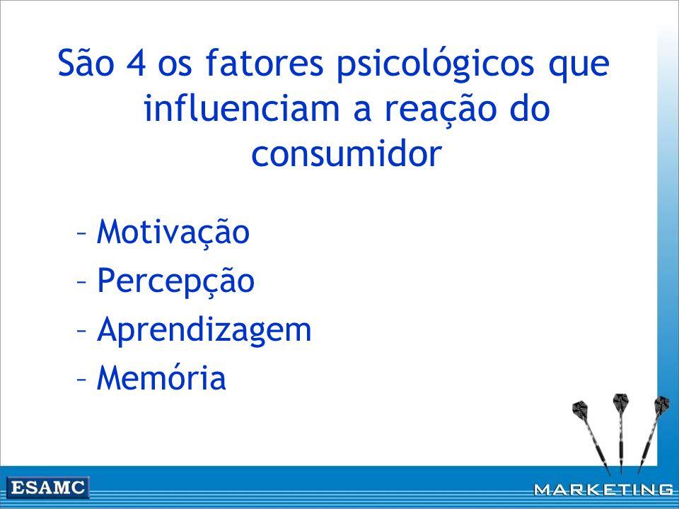 São 4 os fatores psicológicos que influenciam a reação do consumidor –Motivação –Percepção –Aprendizagem –Memória