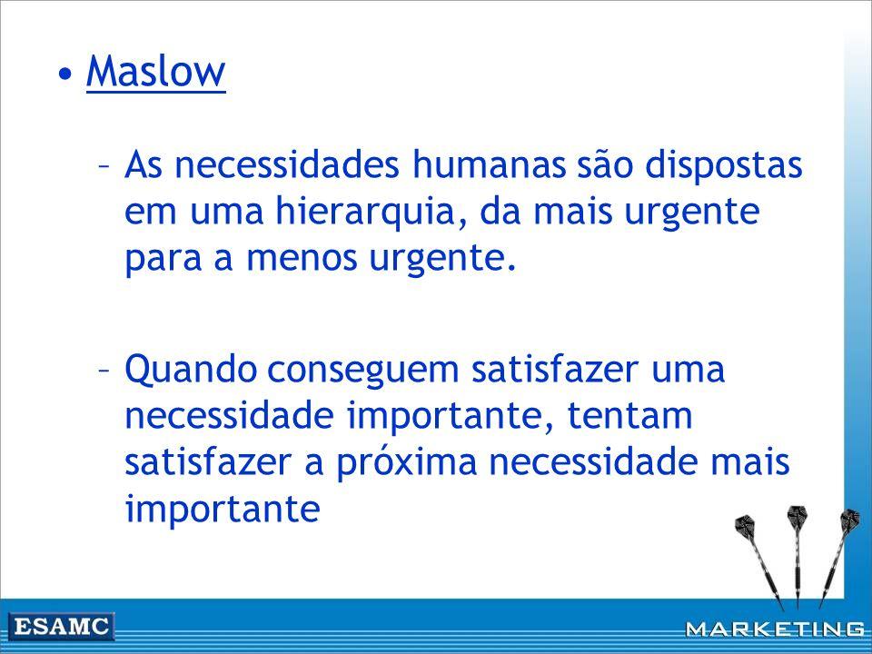 Maslow –As necessidades humanas são dispostas em uma hierarquia, da mais urgente para a menos urgente. –Quando conseguem satisfazer uma necessidade im