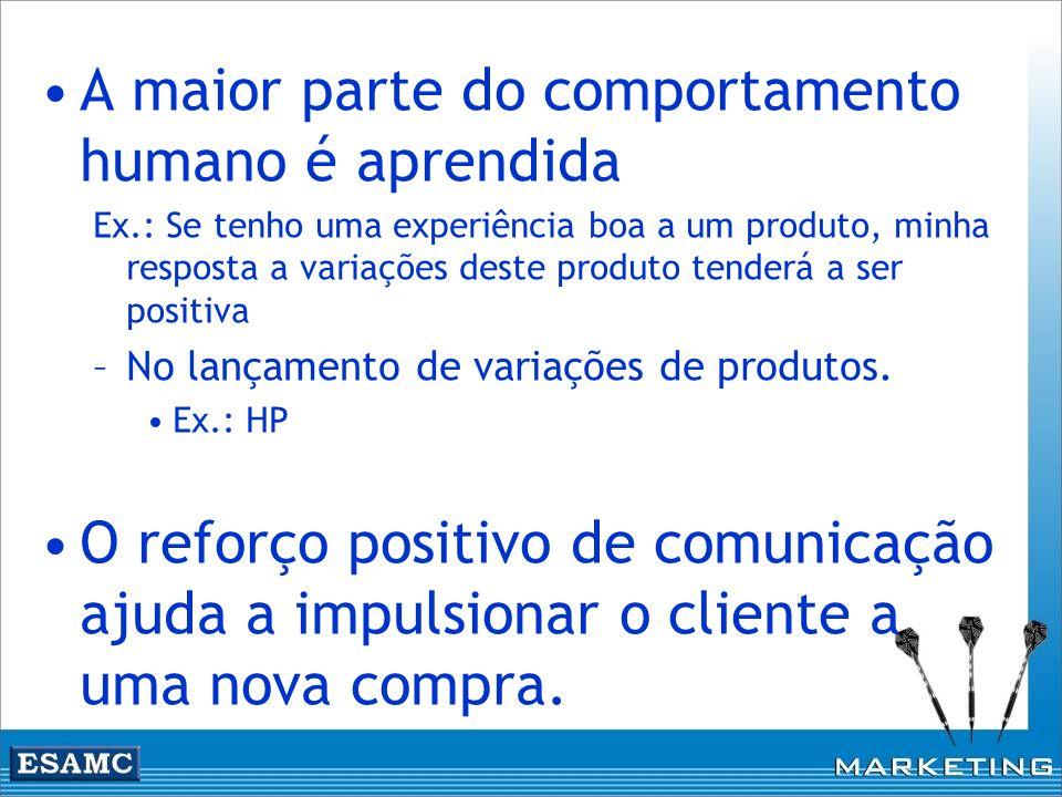 A maior parte do comportamento humano é aprendida Ex.: Se tenho uma experiência boa a um produto, minha resposta a variações deste produto tenderá a s