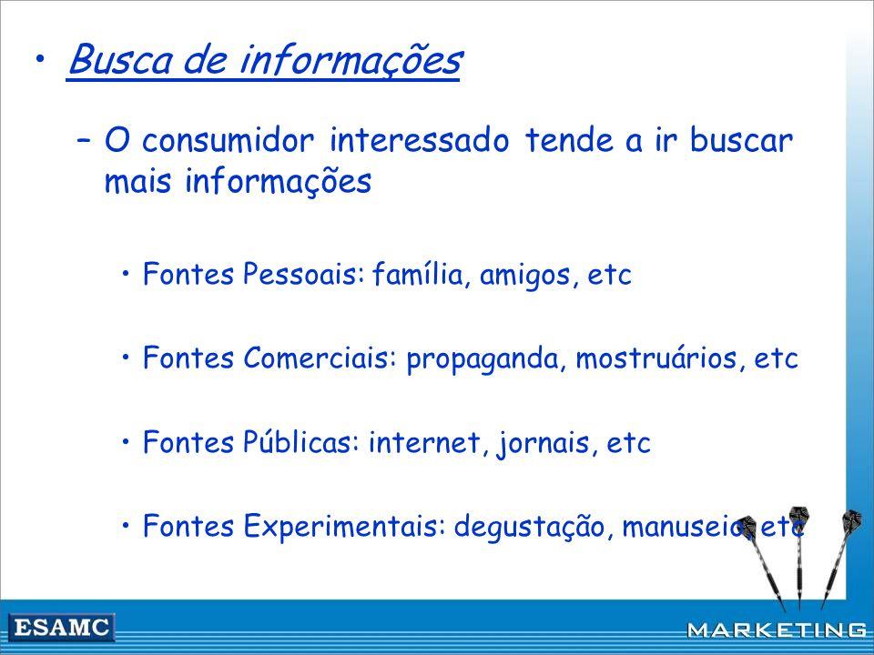 Busca de informações –O consumidor interessado tende a ir buscar mais informações Fontes Pessoais: família, amigos, etc Fontes Comerciais: propaganda,